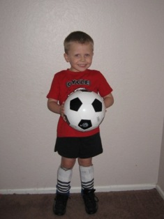 Ashton in his soccer gear.